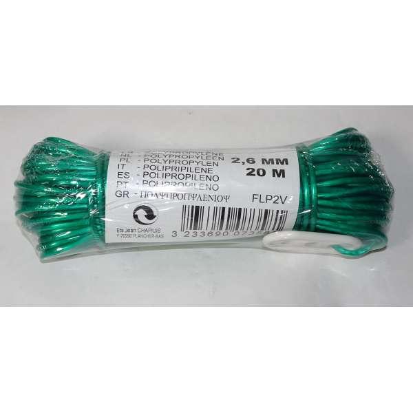 Chapuis Polypropylen-Wäscheleine 20m abwaschbar mit Spanner 2,6mm stark grün Kunststoff