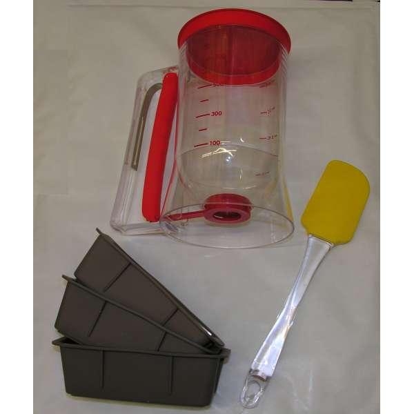 Backformen+Teigschaber+Teigspender 5tlg Set Backen Silikon Kuchen-Form Braun