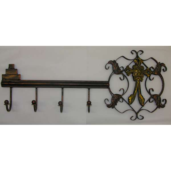 Garderobe Wandhaken 58cm Schlüssel Antik-Stil Nostalgie Metall Hakenleiste Wappen