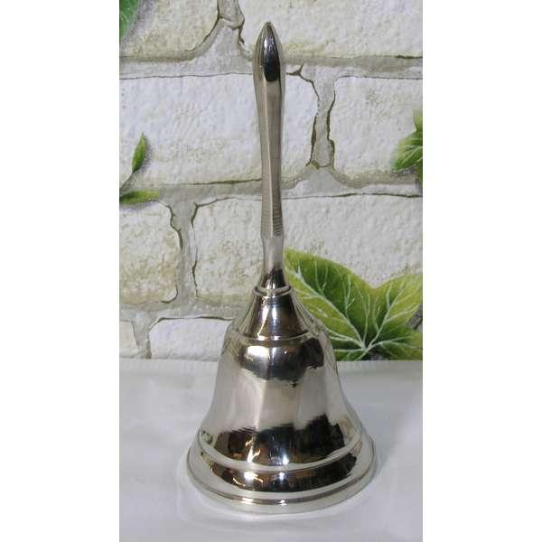 Tischglocke 12cm vernickelt Schulglocke Handglocke Schiffsglocke Glocke silber