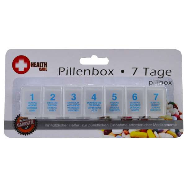 Pillendose Tablettendose 7 Tage Pillenbox Tablettenbox Spender Medikamenten-Box