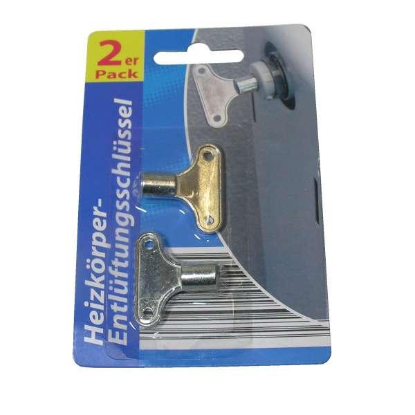 2x Heizkörper-Entlüftungsschlüssel Entlüftungsventil Heizung vierkant Metall
