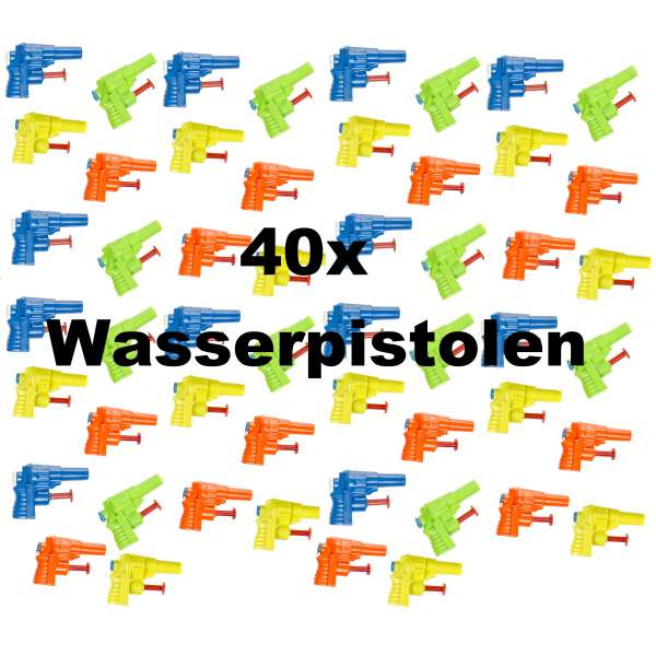 40x Kinder Wasserpistole 6x4,5cm Spritzpistole Spielzeug Wasserspritze Mitgebsel Tombola