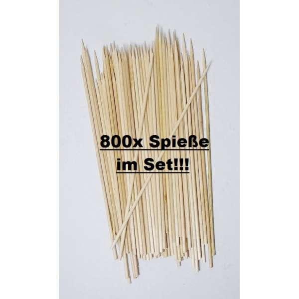 800x Schaschlikspieße Grillspieße Partypicker Fleisch Cocktail Spieße Holz 20cm