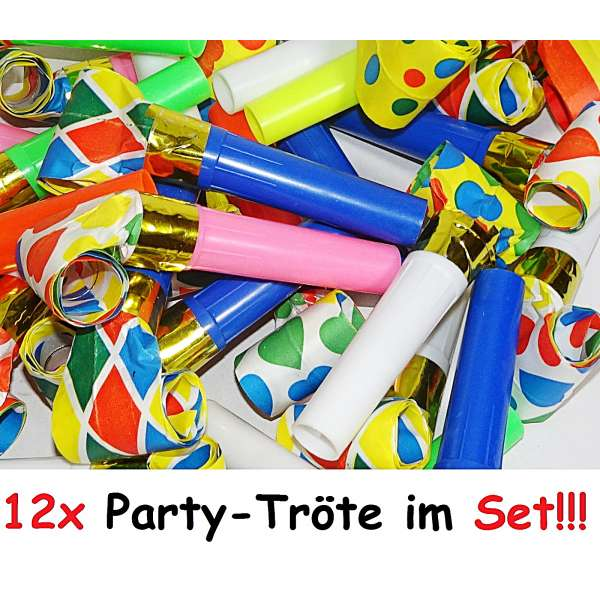 12x Tröte Luftrüssel Pfeife Kinder Mitgebsel Tombola Party Geburtstag Karneval