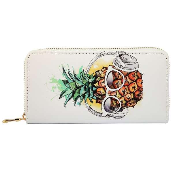 Damen Geldbörse XL mit Ananas Aufdruck Geldbeutel Langbörse Brieftasche Börse