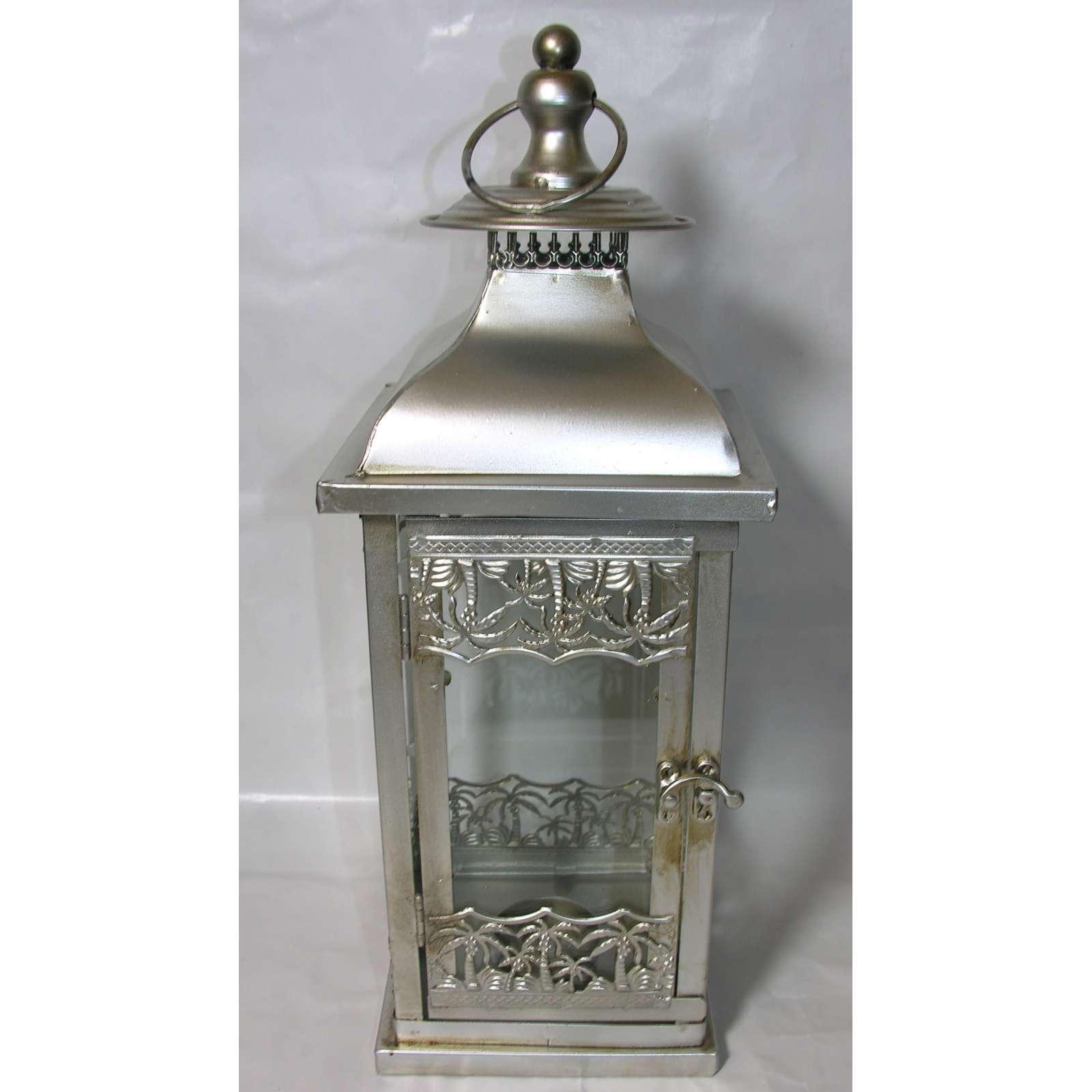 Laterne Windlicht Metall Weiß Shabby Vintage Weihnachten: Metall-Laterne 42cm Hoch Shabby Chic Silber Retro Glas