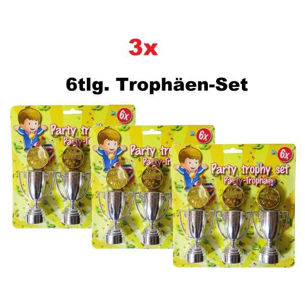 3x 6tlg. Trophäen Set Kinder Pokale Medallien Geburtstag Party Tombola Mitgebsel