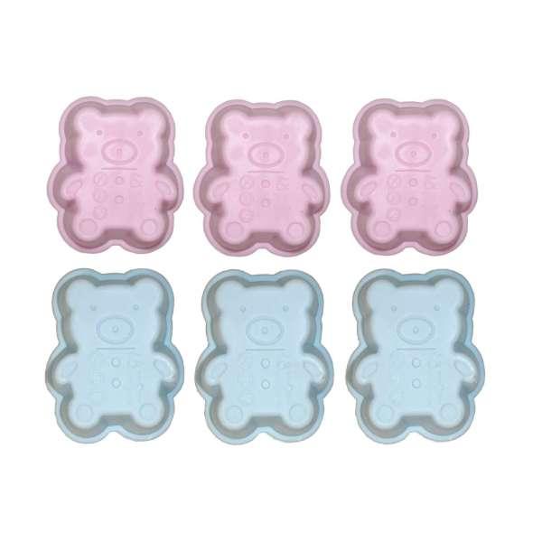 6er Set Mini Silikon Backform Bärchen pink blau Kuchenform Cupcake Form Muffin Kinder Party