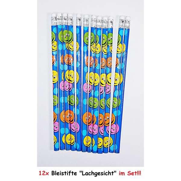 12x Bleistifte Lachgesicht Smiley Stift Schreibstift mit Radierer Schule Zeichnen