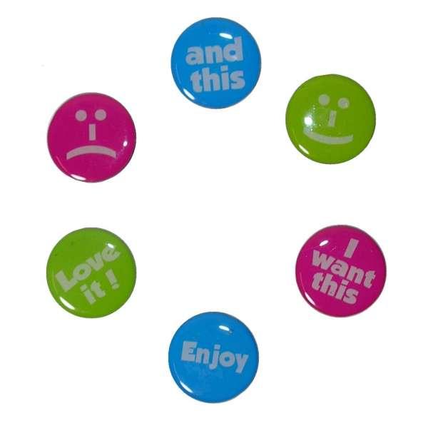 6x Kühlschrank Magnete Love it! Enjoy Gesicht Memomagnet Memohalter Zettelhalter