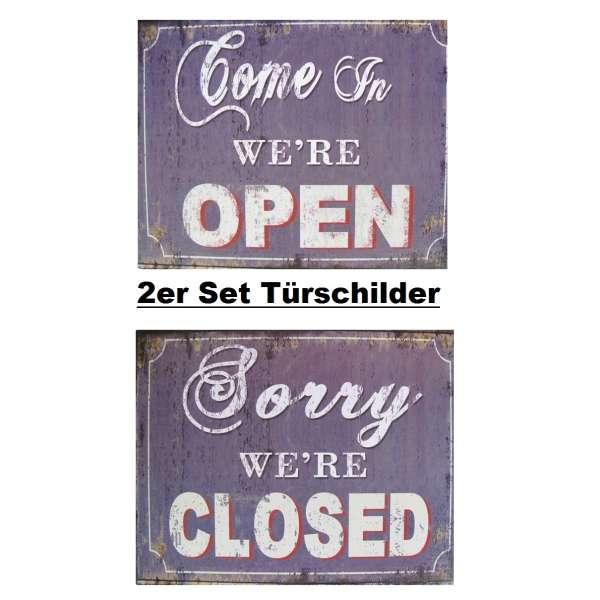 2er Set Blechschild Open/Closed Tür Wand Schild Metall Retro Nostalgie Vintage