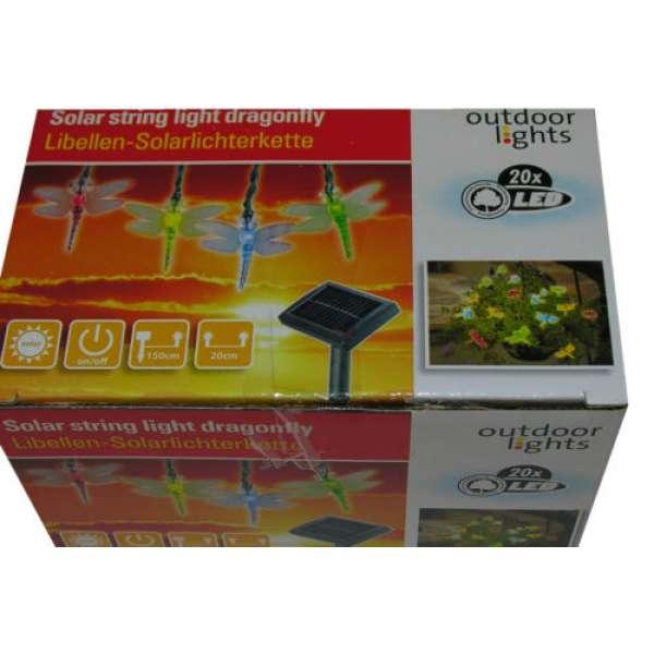 Solar Lichterkette LED 20 Libelle Party Garten innen+außen Kette 550cm