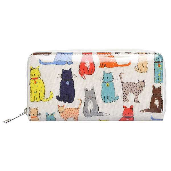 Damen Geldbörse XL Katzen Cats Creme Portmonee Geldbeutel Langbörse Brieftasche