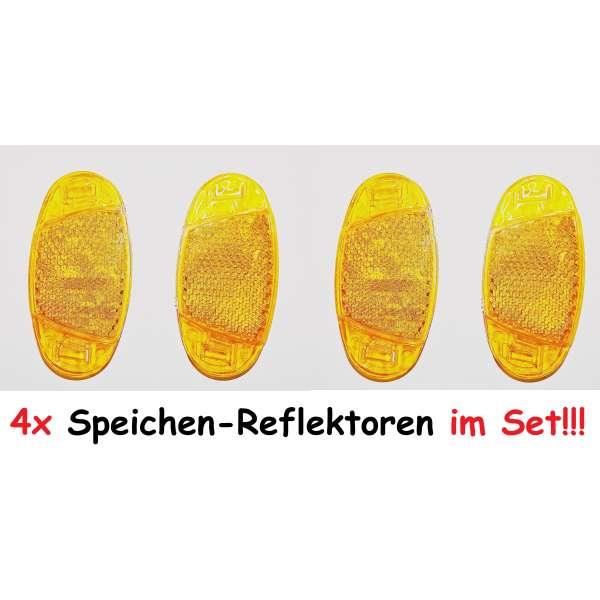 4er Set Fahrrad Speichen-Reflektoren Katzenaugen orange 7x3,5 cm Strahler Dunlop