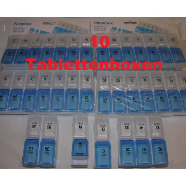 10x 7-TAGE TABLETTENDOSE PILLENDOSE Pillenbox Tablettenbox Spender Medikamenten-Box