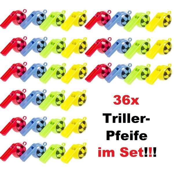 36x Kinder Trillerpfeife Signalpfeife Fussball Pfeife Mitgebsel Tombola Party Feier