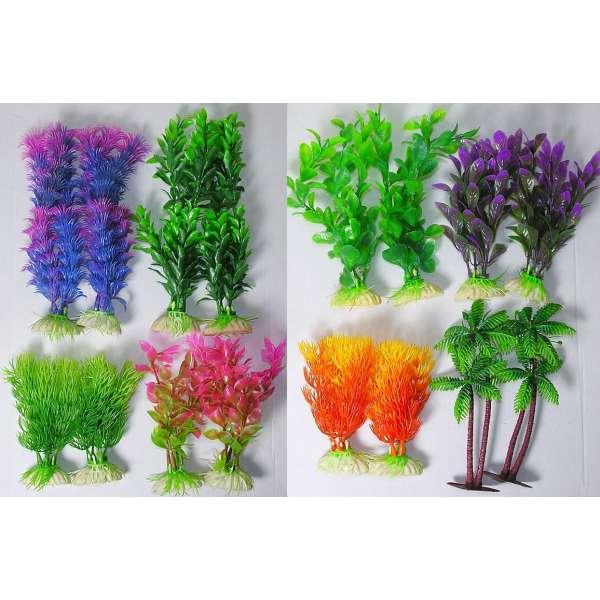 16x Aquarienpflanzen Pflanzen Aquarium Wasserpflanzen Kunstpflanzen Kunststoff
