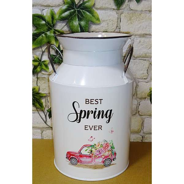 Deko Milchkanne Metall Kanne Topf Blumen Vase Pflanztopf Best Spring Ever 21,5cm
