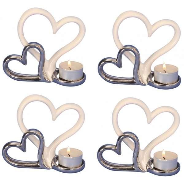4x Teelichthalter Herzen 11x13 Hochzeit Deko Liebe weiss silber Keramik