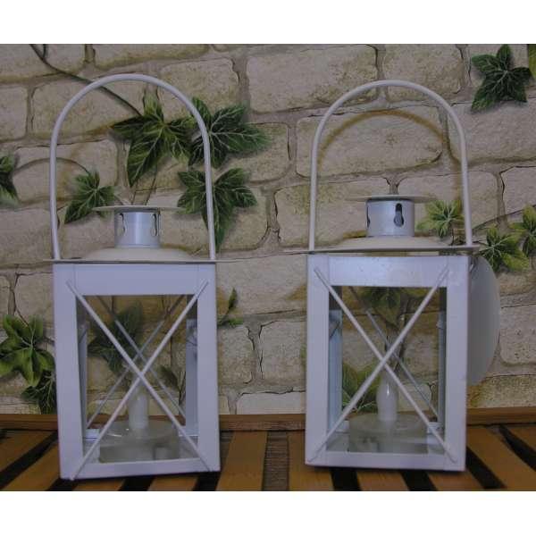 2x Led Laternen weiss 11cm Asia Weihnachten Leuchte Licht Lampe Kerze Batterie