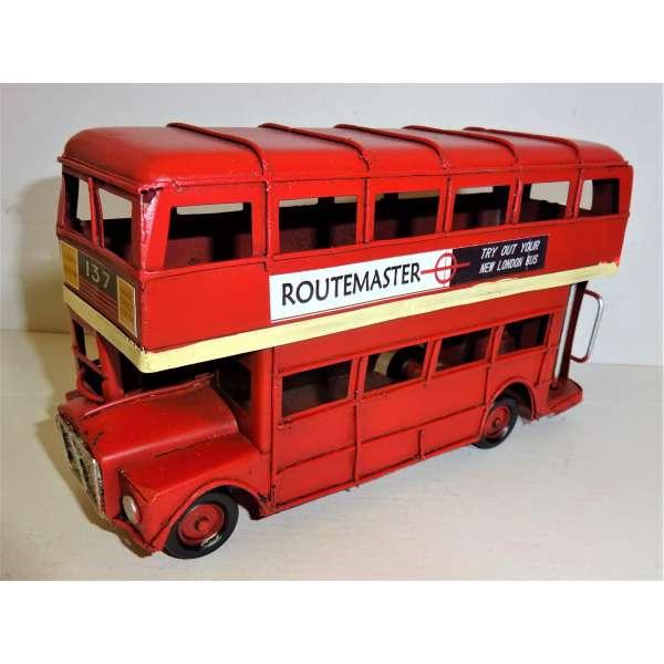 Retro Doppeldecker Bus Routemaster 16cm London Autobus Blech Modell Deko Oldtimer