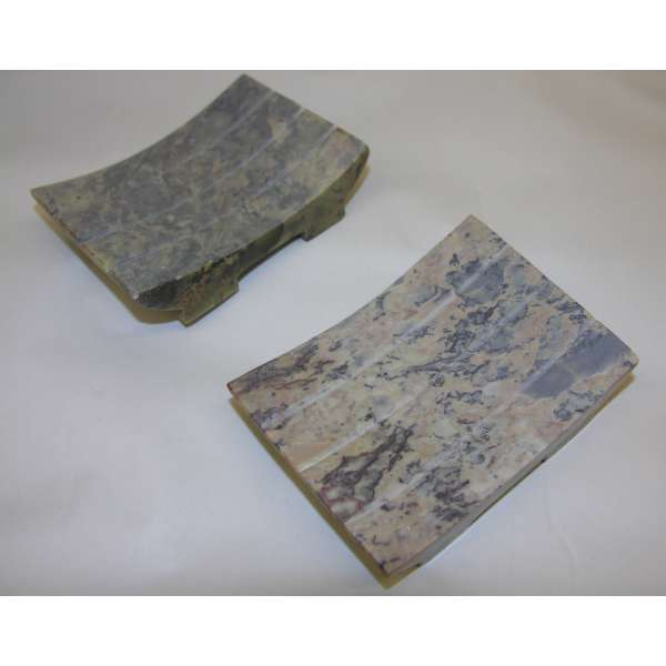2x Seifenschale Seifen-Ablage aus Natur Seifenstein 10x7,5cm Handarbeit