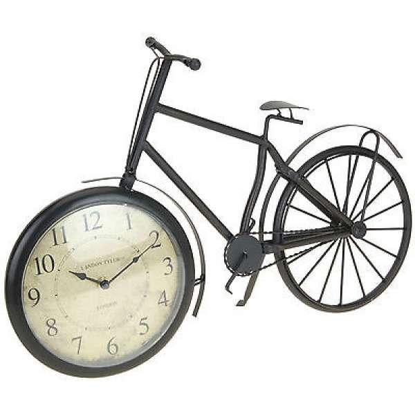 nostalgische Kaminuhr FAHRRAD im Retro-Design Metall Uhr Tischuhr 50cm groß