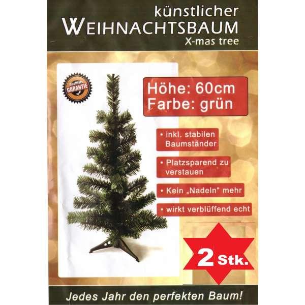 2x künstlicher Tannenbaum grün Weihnachtsbaum 60cm Christbaum Ständer