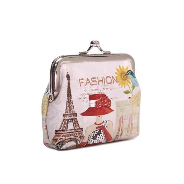 Kleine bunte Damen Geldbörse Fashion Paris Dame mit Hut Portmonee Geldbeutel
