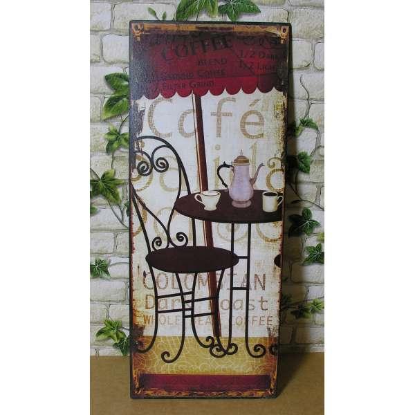 Blechschild Café Tisch Stuhl Kanne Tasse Kaffee Nostalgie Shabby Bistro Deko