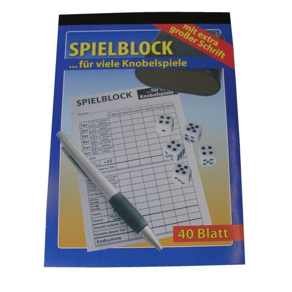 Senioren Knobelspiel Spielblock Knobel Würfel Block 40 Blatt extra große Schrift