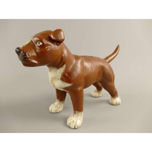 Hund aus Guss-Eisen Pitbull Deko Skulptur Figur Buchstütze Türstopper braun