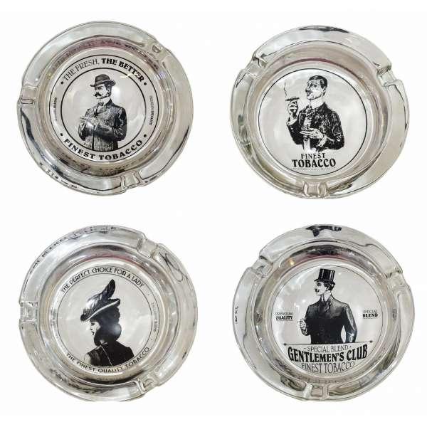 4x Aschenbecher Glas Zigarretten Ascher schnell Loescher tabacco vers. Designs