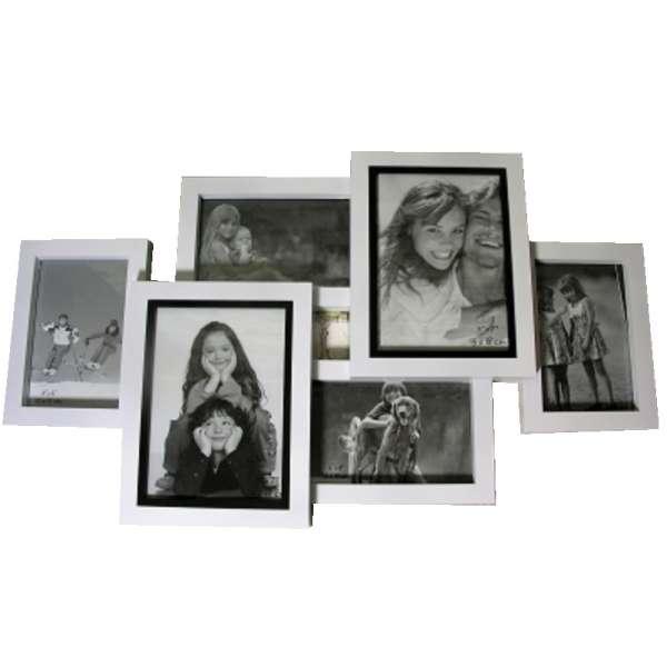 3D Bilderrahmen für 6 Fotos Fotorahmen Fotocollage Bildergalerie Kunststoff Deko
