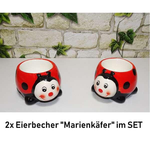 2x Lustige Eierbecher Marienkäfer im Set Tiere aus Keramik rot Geschenkidee