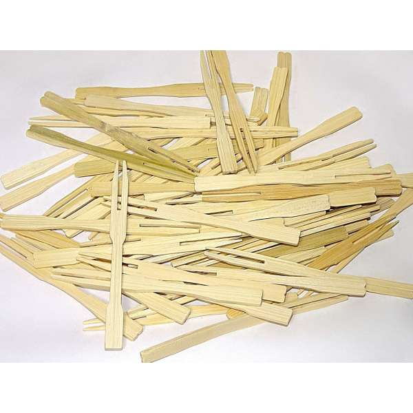 250 Bambus Spieße Picker Holz Pommes Gabeln Sticks mini Cocktailgabel Party Grill