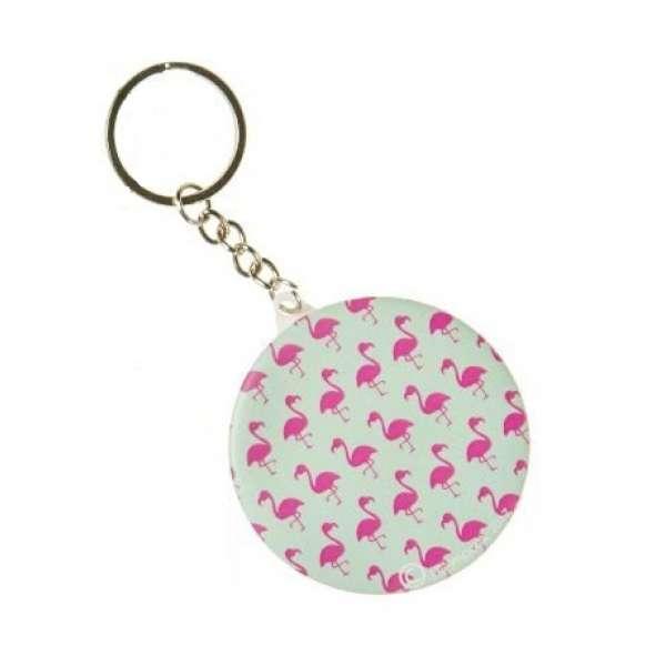 Schlüsselanhänger Flamingo mit Taschen- Schmink- Spiegel Anhänger rund rosa