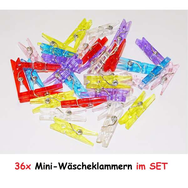 36x Mini Wäscheklammern Deko Bastel Klammer Kunststoff Clip Pinnwand Zubehör bunt