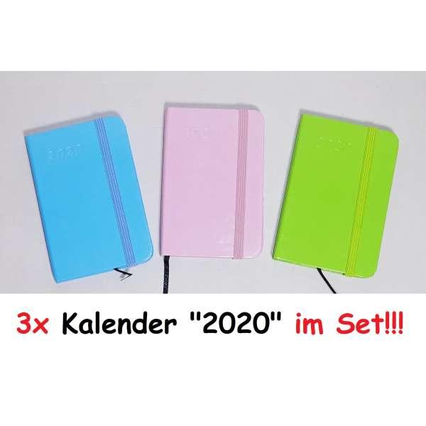 3x Taschenkalender Kalender 2020 mit Gummiband Organizer Cheftimer Business A7