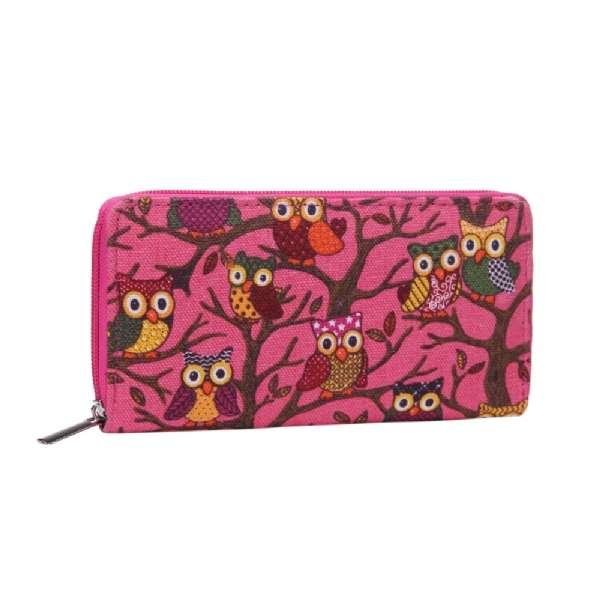 Damen Geldbörse XL Eulen Pink Owls Portmonee Geldbeutel Langbörse Brieftasche