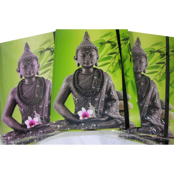 10x Notizbuch Buddha kleiner A5 Tagebuch Diary Feng Shui grün liniert Gummiband