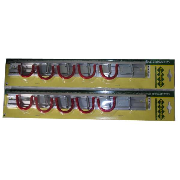 2x Gerätehalter Geräteleiste Hakenleiste 40cm mit 5 Haken Besen Leiste Halter