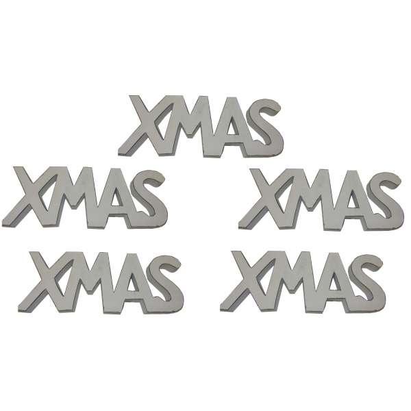 5x Schriftzug XMAS Mango Holz Weihnachten Weihnachtsdeko Deko Aufsteller 15x39cm