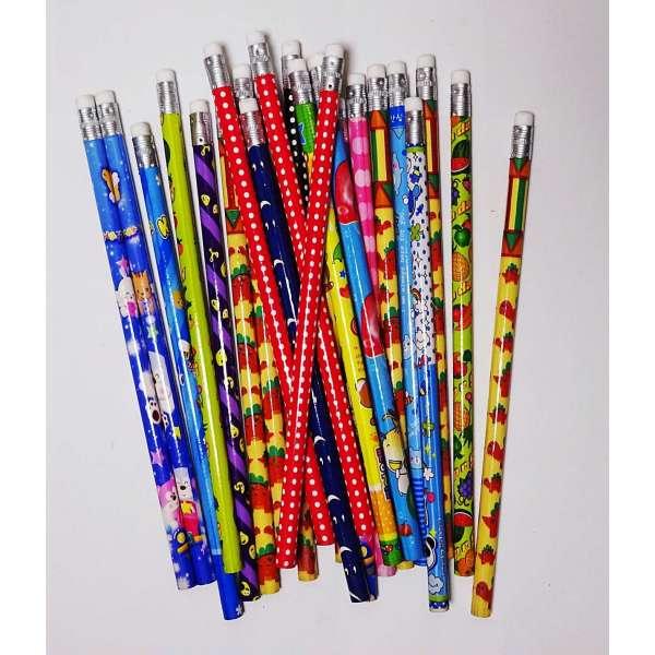 24x Bleistifte gemischte Motive Stift Schreibstift mit Radierer Schule Zeichnen ca.19cm
