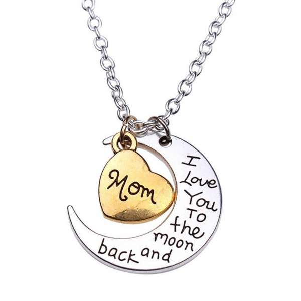I love you to the moon and back Halskette Mom Mutter Herz gold- silber-farben Mond