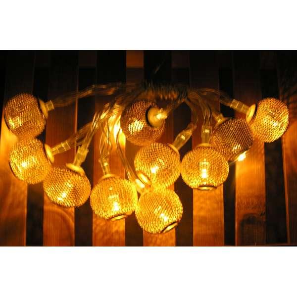 LED Lichterkette 10 Kugeln INDIAN SPIRIT warmweiß gold Ball Batterie Deko