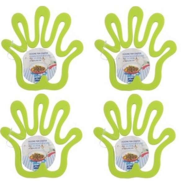 4x Topfuntersetzer Hand grün Silikon Pfannen-Untersetzer hitzebeständig Pfanne
