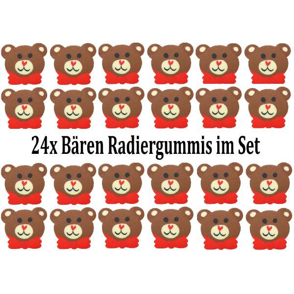 24er Set Bär Teddy Radiergummi Radierer Mitgebsel Kindergeburtstag Party Tombola