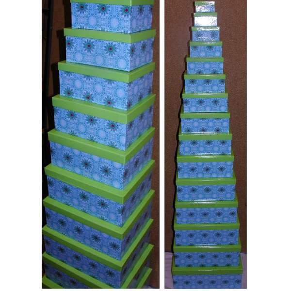 15er Set Geschenkbox blau grün Blumen Geschenk Karton Box Schachtel Stapelbox
